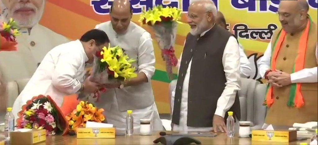 Senior BJP Leaders Present Bouquets To JP Nadda At The BJP Parliamentary Board Meeting