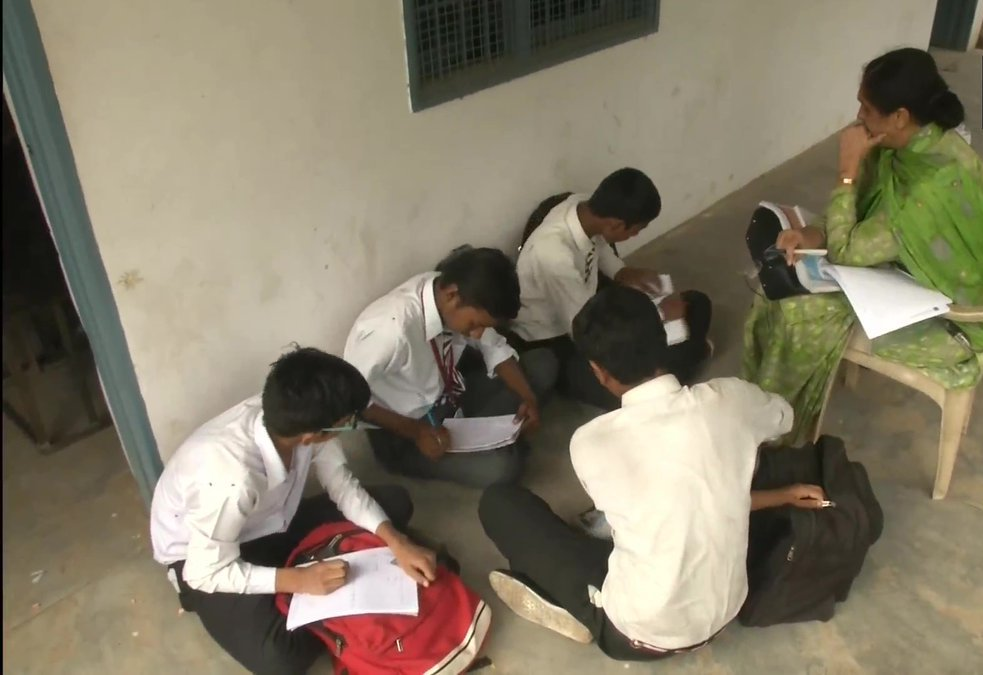 Students Study Outside As Classrooms Are Filled With EVMs At A Govt School In Ludhiana