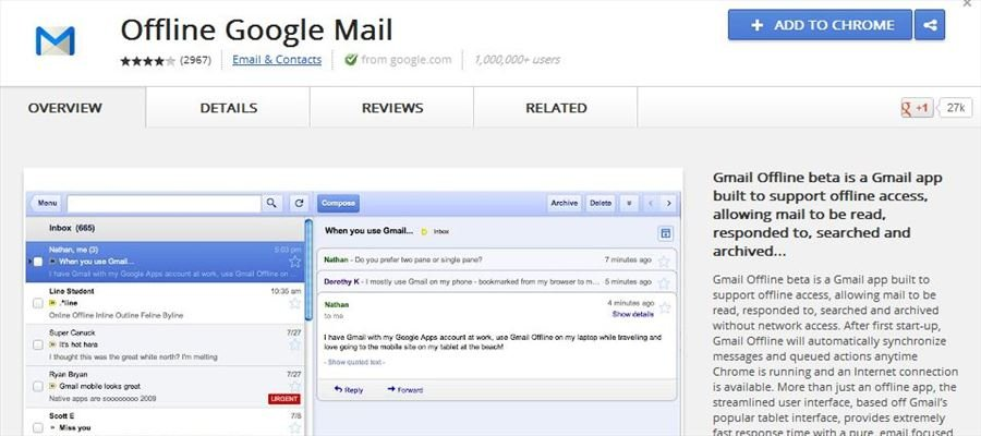 Gmail access, sans Internet !
