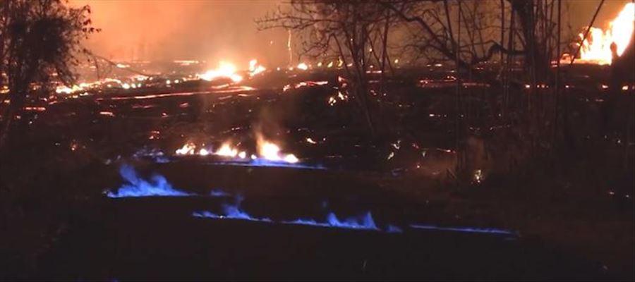 Blue Methane flames burning in Hawaii Volcano