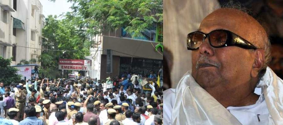 Karunanidhi treated in Kauvery Hospital after his Blood Pressure dropped