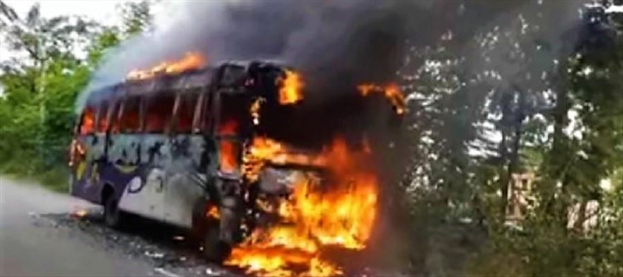 Watch Video: Andhra Bus catches Fire on the road - Passengers survive by a margin