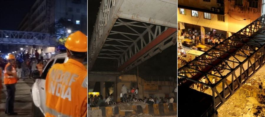 #MumbaiBridgeCollapse - 5 People died and 36 injured in one of the busiest stations in Mumbai due to over rush in the bridge
