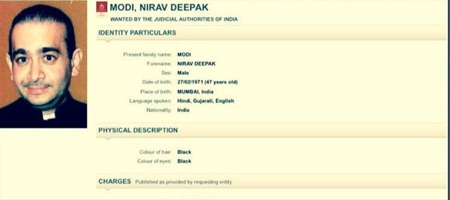 Red Corner Notice issued against Nirav Modi by Interpol in connection with 13000 Crores Money Fraud Case