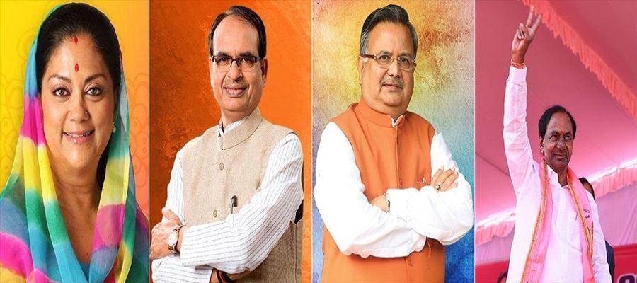 Congress ahead in Rajasthan & Chhattisgarh