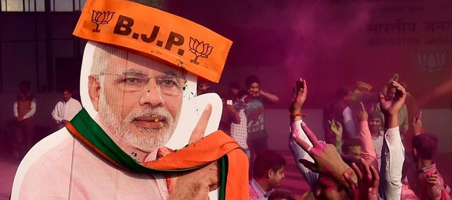 BJP moved ahead, in neck-and-neck fight between BJP and Congress