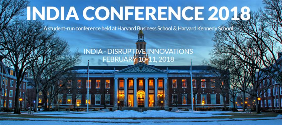 Which Indian Celebrities addresses annual Indian Conference at Harvard University?