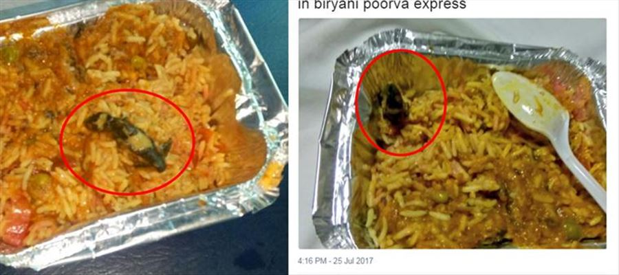 Poorva express train shocks passengers by delivering Vegetable Biriyani with Lizards !!!