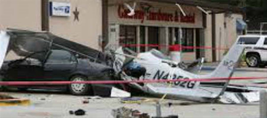 Bizzare Accident as Plane Lands in Car Parking Lot outside Shopping Mall - Photos Inside