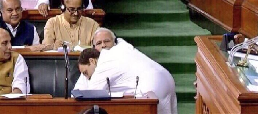 #RahulHugsModi - Social Media Reacts for Rahul Gandhi's 'Wink' and 'Tight Hug' after aggressive speech