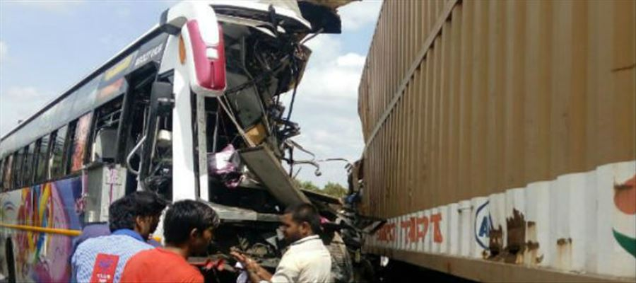 Bus collided with a truck on an over bridge in Tamilnadu