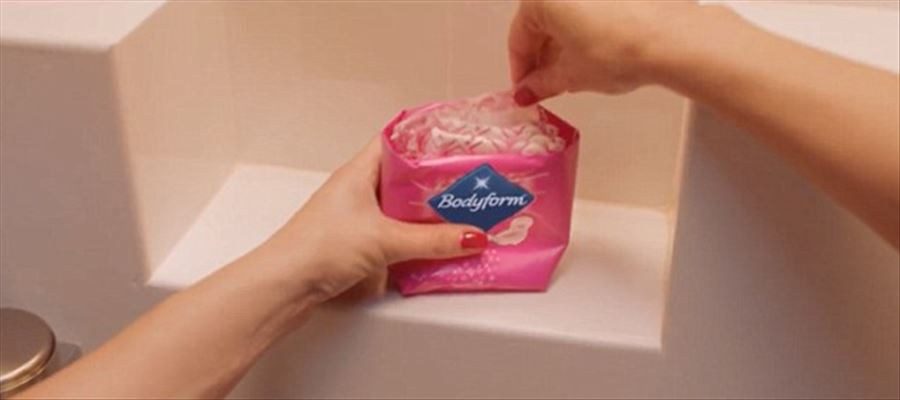 Unlike 'Blue Liquids' shown in sanitary pad commercials, 'Bodyform' shows real menstrual blood in their ads!