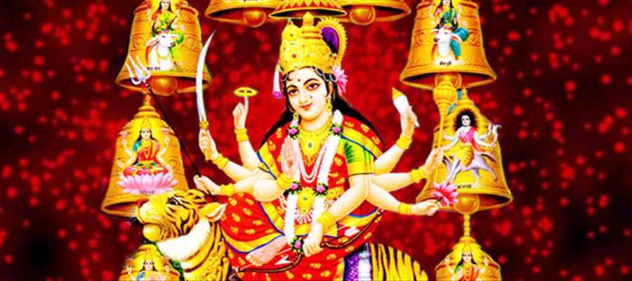 Worshiping Durga on 7th, 8th & 9th day