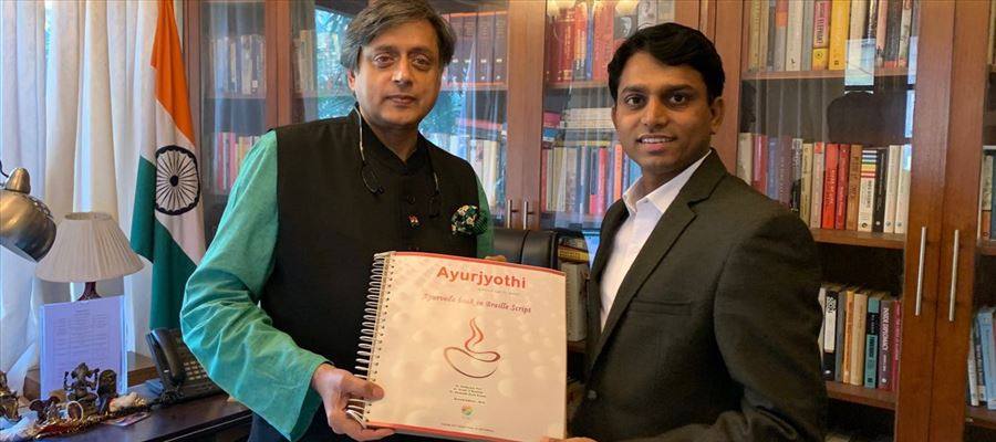 Shashi Tharoor releases the Second Edition of Ayurjyothi in Braille