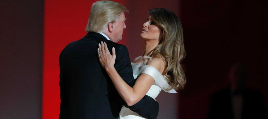 """Donald & Melania Trump take their first dance, to """"My Way,"""" at the Liberty Ball"""
