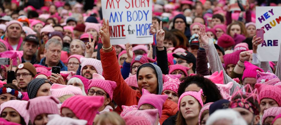 Pink hat worn during the women's march symbolizes women's rights