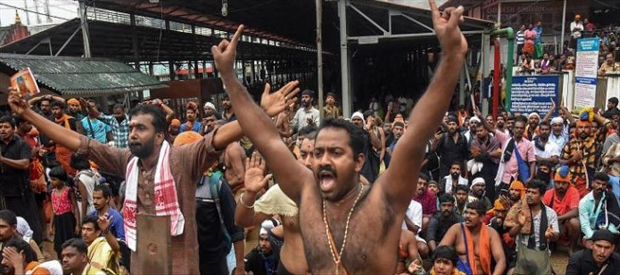 Protests erupted in Sabarimala Temple