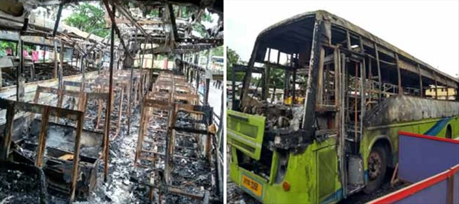 5 Buses parked at Warangal depot completely gutted