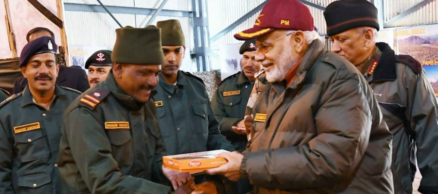 PM celebrated Diwali with Jawans, greeted Soldiers in India-China border