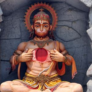 Never Keep God Hanuman statue opening his chest