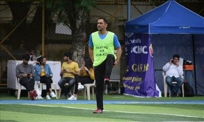 Arjun Kapoor And MS Dhoni At A Foot Ball Match