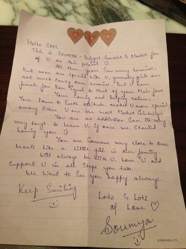 Samantha got love letter from lady fan spiritdancerdesigns Image collections